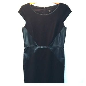 Black shift dress with leather accents